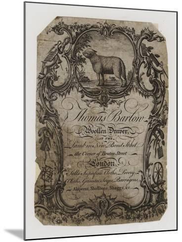 Woolen Drapers, Thomas Barton, Trade Card--Mounted Giclee Print
