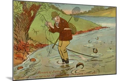 Angler with His Line Caught in a Tree--Mounted Giclee Print