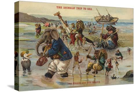 The Wreck and Rescue - the Animal's Trip to Sea--Stretched Canvas Print