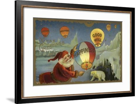 Father Christmas Setting Off Balloons--Framed Art Print