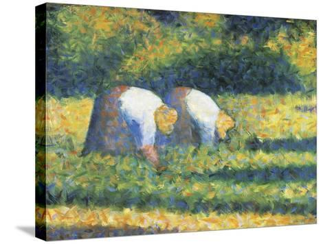 Farmers at Work, 1882-Georges Seurat-Stretched Canvas Print