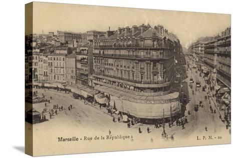 Postcard Depicting the Rue De La Republique--Stretched Canvas Print