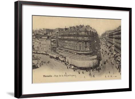 Postcard Depicting the Rue De La Republique--Framed Art Print