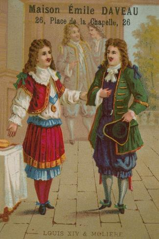 Louis XIV of France and Moliere--Stretched Canvas Print