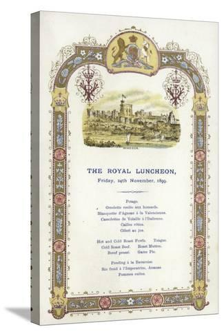 Menu for the Royal Luncheon--Stretched Canvas Print