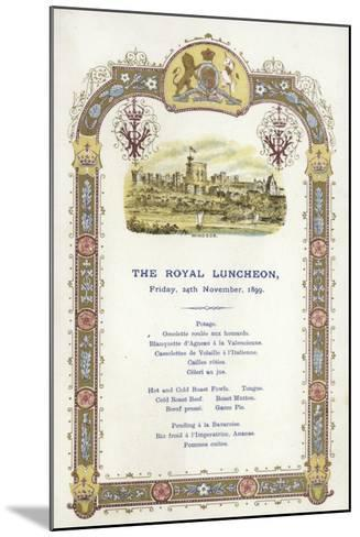 Menu for the Royal Luncheon--Mounted Giclee Print