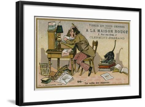 La Maison Rouge Trade Card, the Eve of the Exams--Framed Art Print