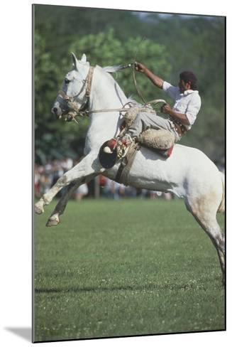 Gaucho Riding on Horseback in Argentina--Mounted Photographic Print