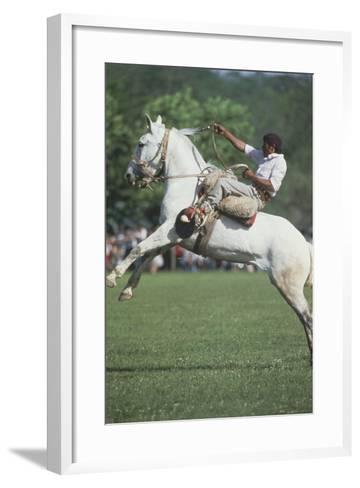 Gaucho Riding on Horseback in Argentina--Framed Art Print