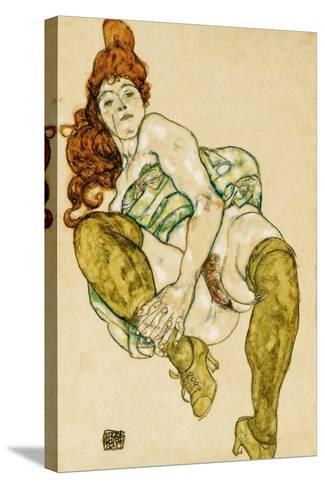 Female Nude Clasping Right Leg, 1917-Egon Schiele-Stretched Canvas Print