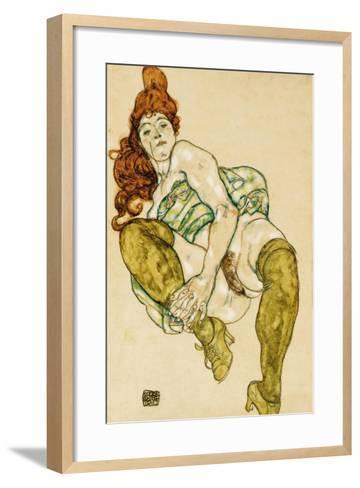 Female Nude Clasping Right Leg, 1917-Egon Schiele-Framed Art Print