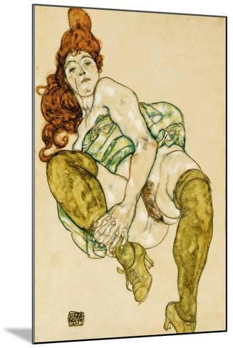 Female Nude Clasping Right Leg, 1917-Egon Schiele-Mounted Giclee Print