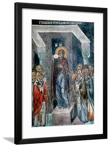 Virgin Mary Drinking the Water of Conviction-Symeon Axenti-Framed Art Print
