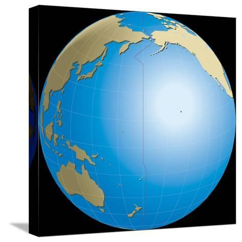 Diagram of Earths International Date Line--Stretched Canvas Print