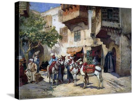 Oriental Street with Donkeys-Frederick Arthur Bridgman-Stretched Canvas Print
