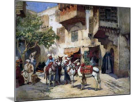 Oriental Street with Donkeys-Frederick Arthur Bridgman-Mounted Giclee Print