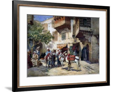 Oriental Street with Donkeys-Frederick Arthur Bridgman-Framed Art Print
