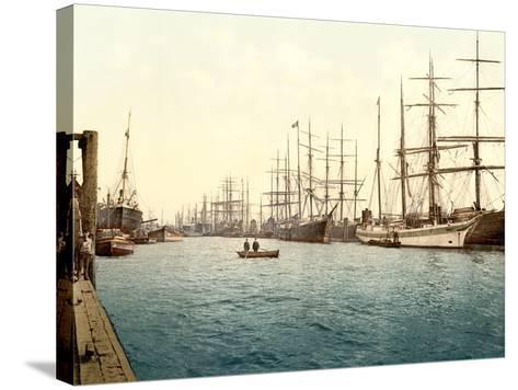 Tall Ships on the Elbe, Pub. C.1895--Stretched Canvas Print