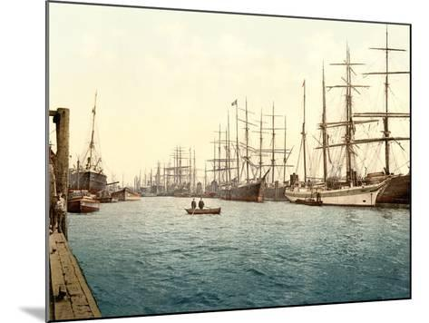 Tall Ships on the Elbe, Pub. C.1895--Mounted Photographic Print