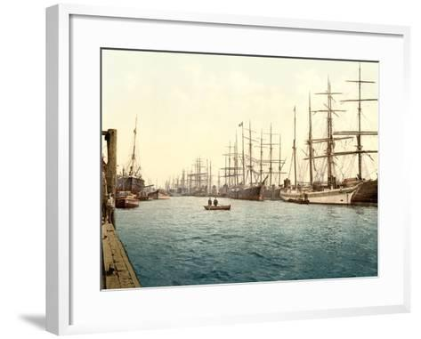 Tall Ships on the Elbe, Pub. C.1895--Framed Art Print
