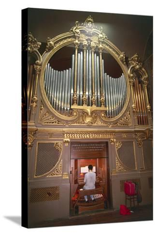Organ Player--Stretched Canvas Print