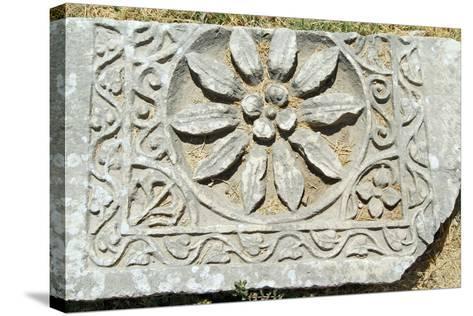 Decorative Carved Floral Design, Xanthos, Turkey--Stretched Canvas Print