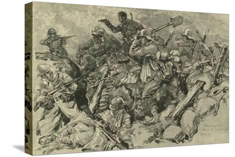 German Troops Attacking French Front Line--Stretched Canvas Print