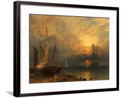 Waiting for the Tide, Sunset, 1866-Henry Dawson-Framed Art Print