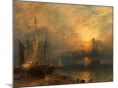 Waiting for the Tide, Sunset, 1866-Henry Dawson-Mounted Giclee Print