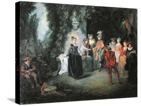 Love in French Theatre-Jean-Antoine Watteau-Stretched Canvas Print