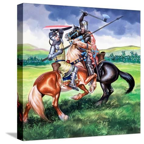 Robert Bruce About to Kill Sir Henry De Bohum-Ron Embleton-Stretched Canvas Print