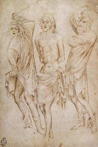 Flagellation of Christ, by Stefano Da Verona--Stretched Canvas Print