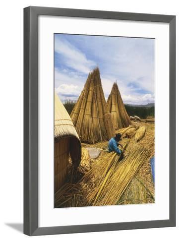 Peruvian Man Building 'Balsas'--Framed Art Print