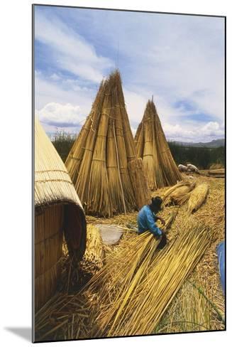 Peruvian Man Building 'Balsas'--Mounted Photographic Print