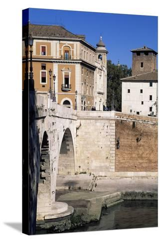 View of Tiber Island and Pons Cestius--Stretched Canvas Print