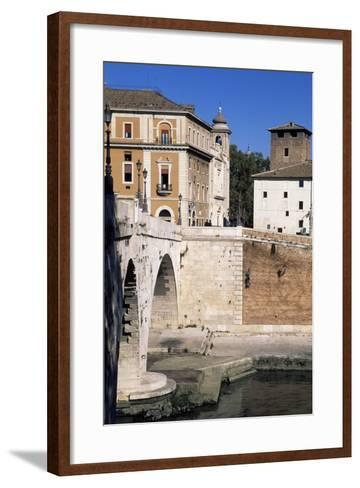 View of Tiber Island and Pons Cestius--Framed Art Print