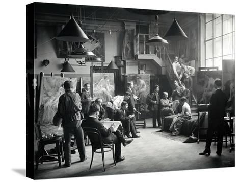 Life Class at the Imperial Academy of Art, C.1914--Stretched Canvas Print