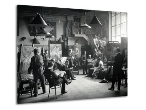 Life Class at the Imperial Academy of Art, C.1914--Metal Print