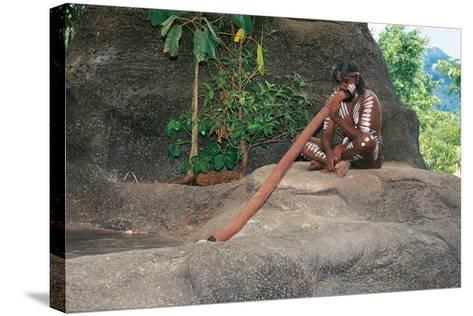 A Tjapukai Aborigine Playing the Didgeridoo--Stretched Canvas Print