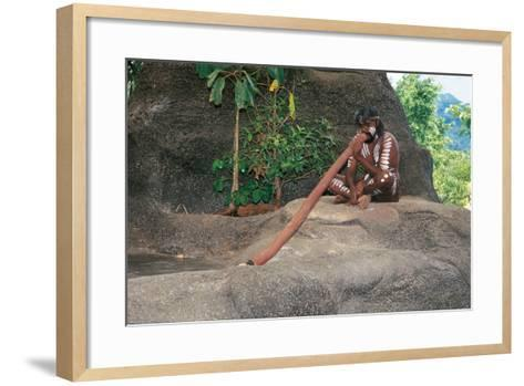 A Tjapukai Aborigine Playing the Didgeridoo--Framed Art Print