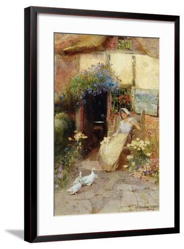 At the Cottage Door, 1913-Thomas Mackay-Framed Art Print