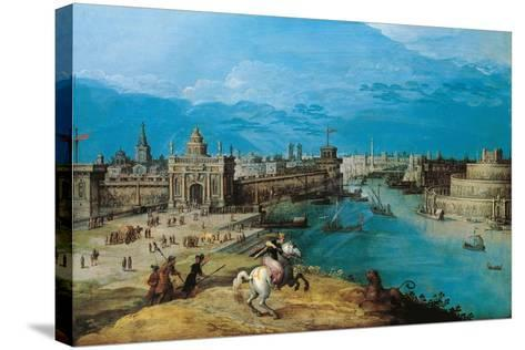 Hunting the Lion at the Gates of Babylon-Adriaen I van Nieulandt-Stretched Canvas Print