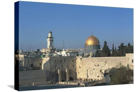 Israel, Jerusalem, Dome of Rock and Western Wall--Stretched Canvas Print