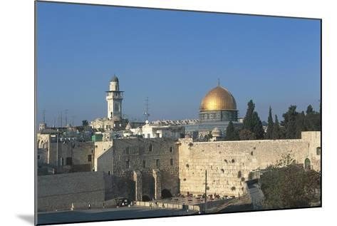Israel, Jerusalem, Dome of Rock and Western Wall--Mounted Giclee Print