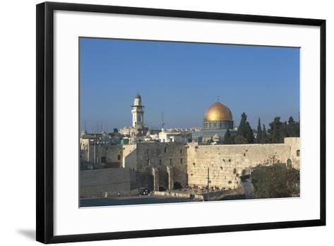 Israel, Jerusalem, Dome of Rock and Western Wall--Framed Art Print