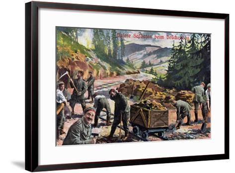 """Our Soldiers Building a Bridge"", 1916--Framed Art Print"