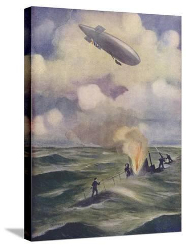A British Naval Airship Bombing a Submarine--Stretched Canvas Print