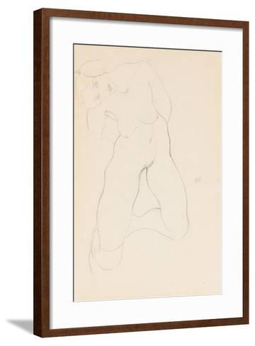 Kneeling Female Nude, 1912-Egon Schiele-Framed Art Print