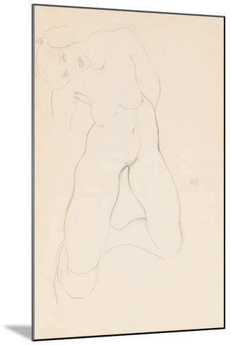 Kneeling Female Nude, 1912-Egon Schiele-Mounted Giclee Print