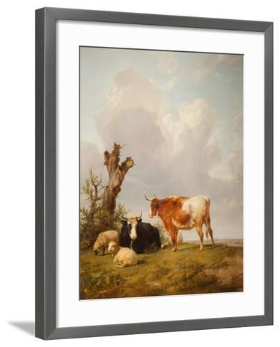 View in Stour Valley with Two Cows-Thomas Sidney Cooper-Framed Art Print